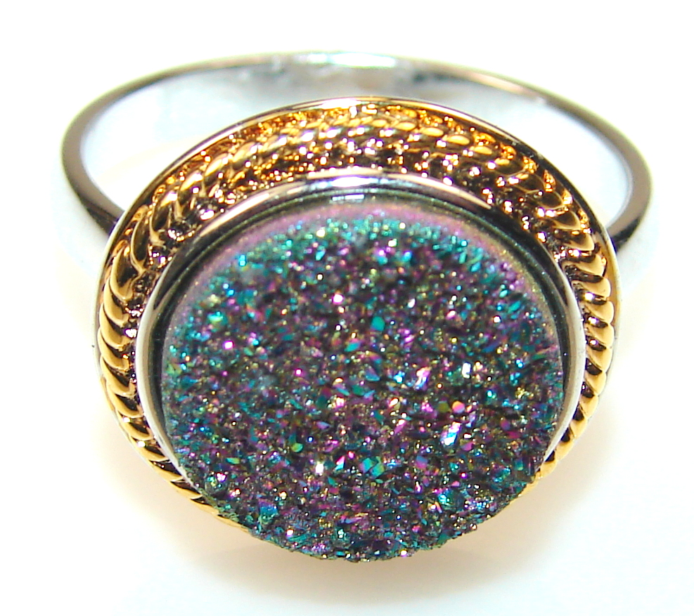 Mysterious Titanum Druzy Two Tones Sterling Silver ring s. 8