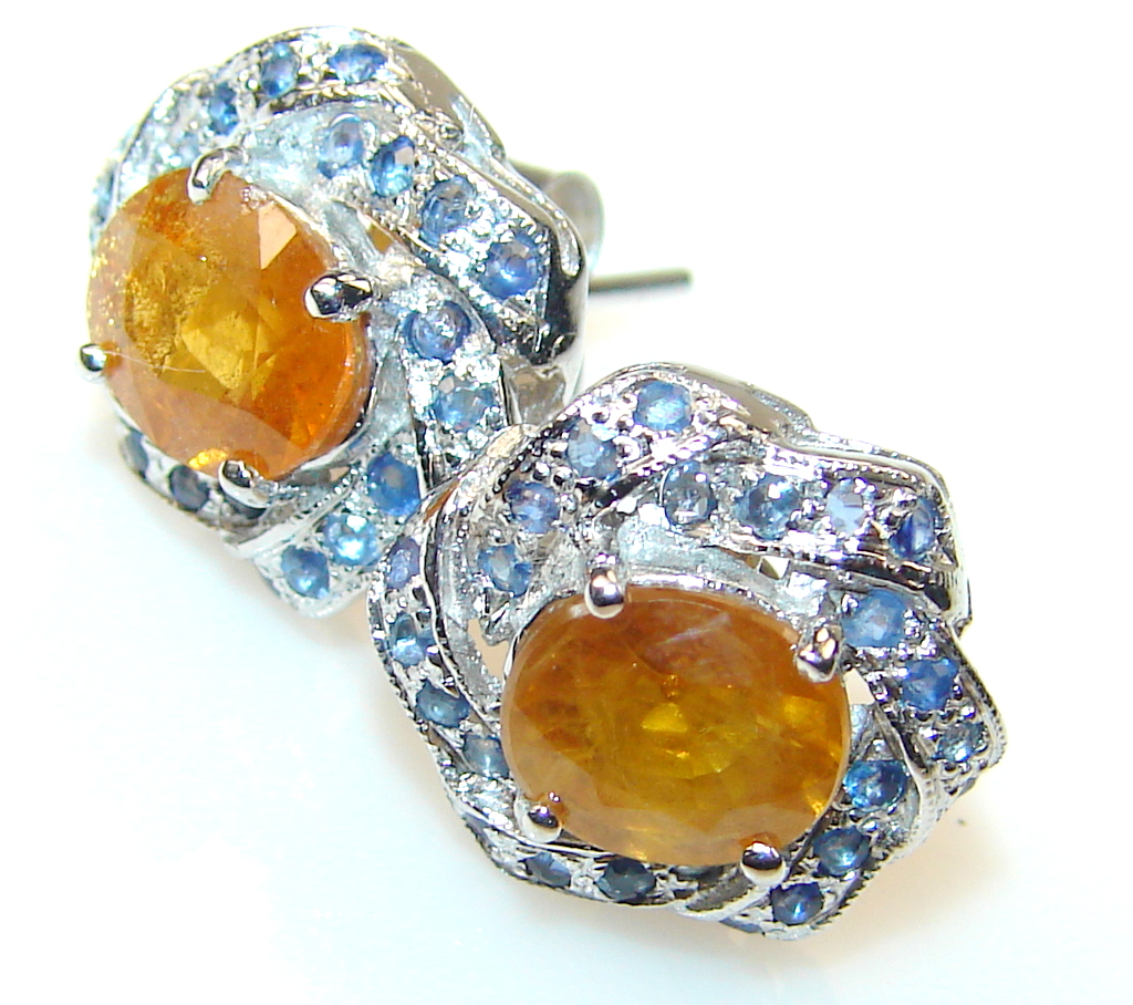 Great Golden Sapphire Sterling Silver earrings