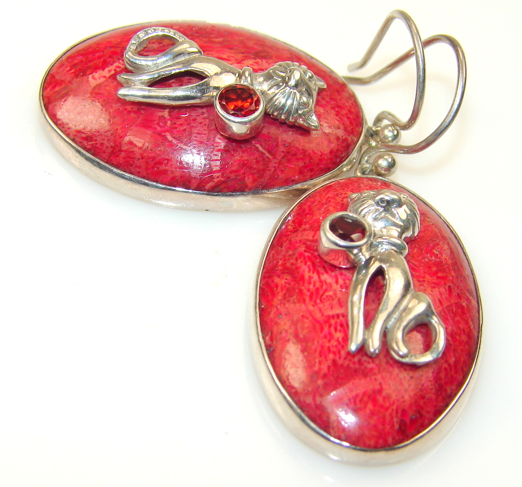 Image of Indonesian Fossilized Coral Sterling Silver earrings