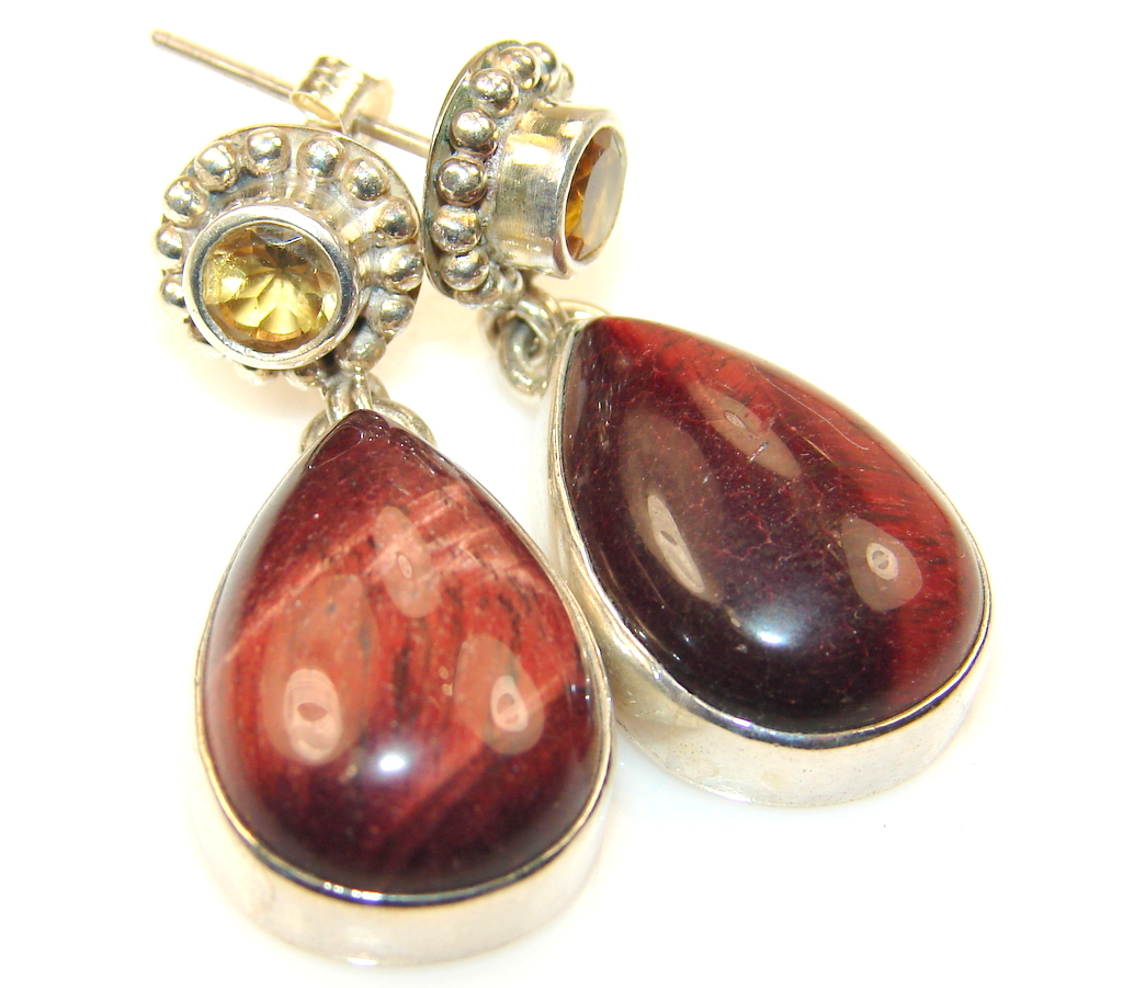 Image of Timeless Unique Red Tigers Eye Sterling Silver earrings