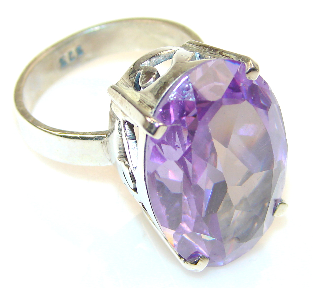 Beautiful Purple Magic Topaz Sterling Silver ring; s 8