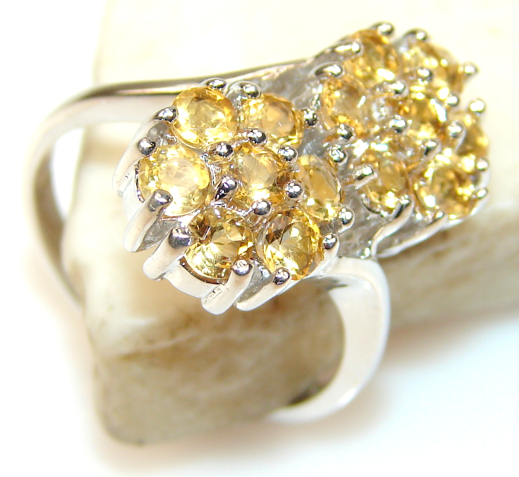 Briliance Floral Citrine Sterling Silver ring s. 7