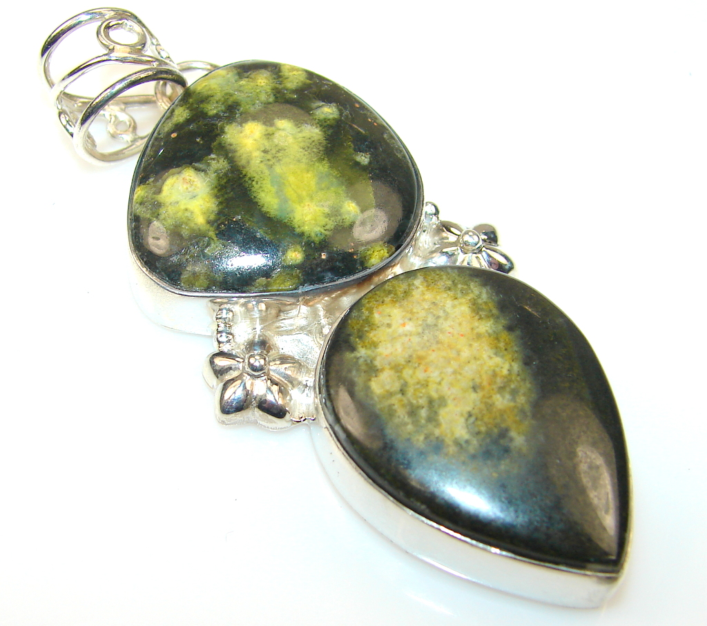 Amazing Bumble Bee Jasper Sterling Silver Pendant