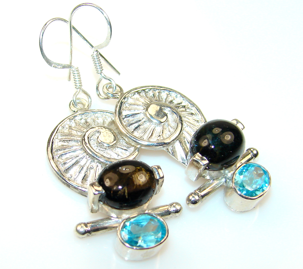 Delicate Brown Tourmaline and Blue Topaz Sterling Silver earrings