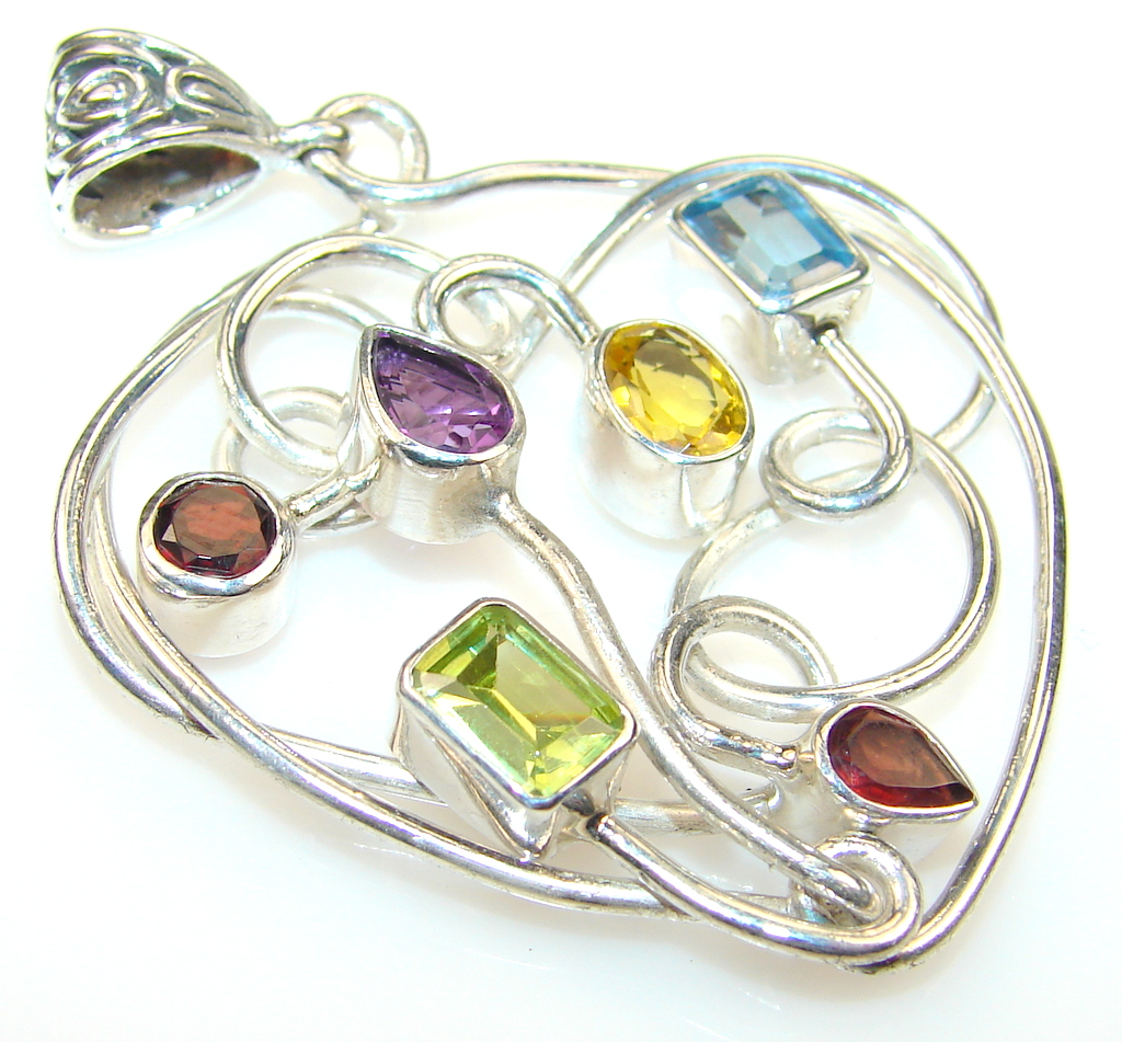 Image of Paradise Bloom Multistone Sterling Silver Pendant