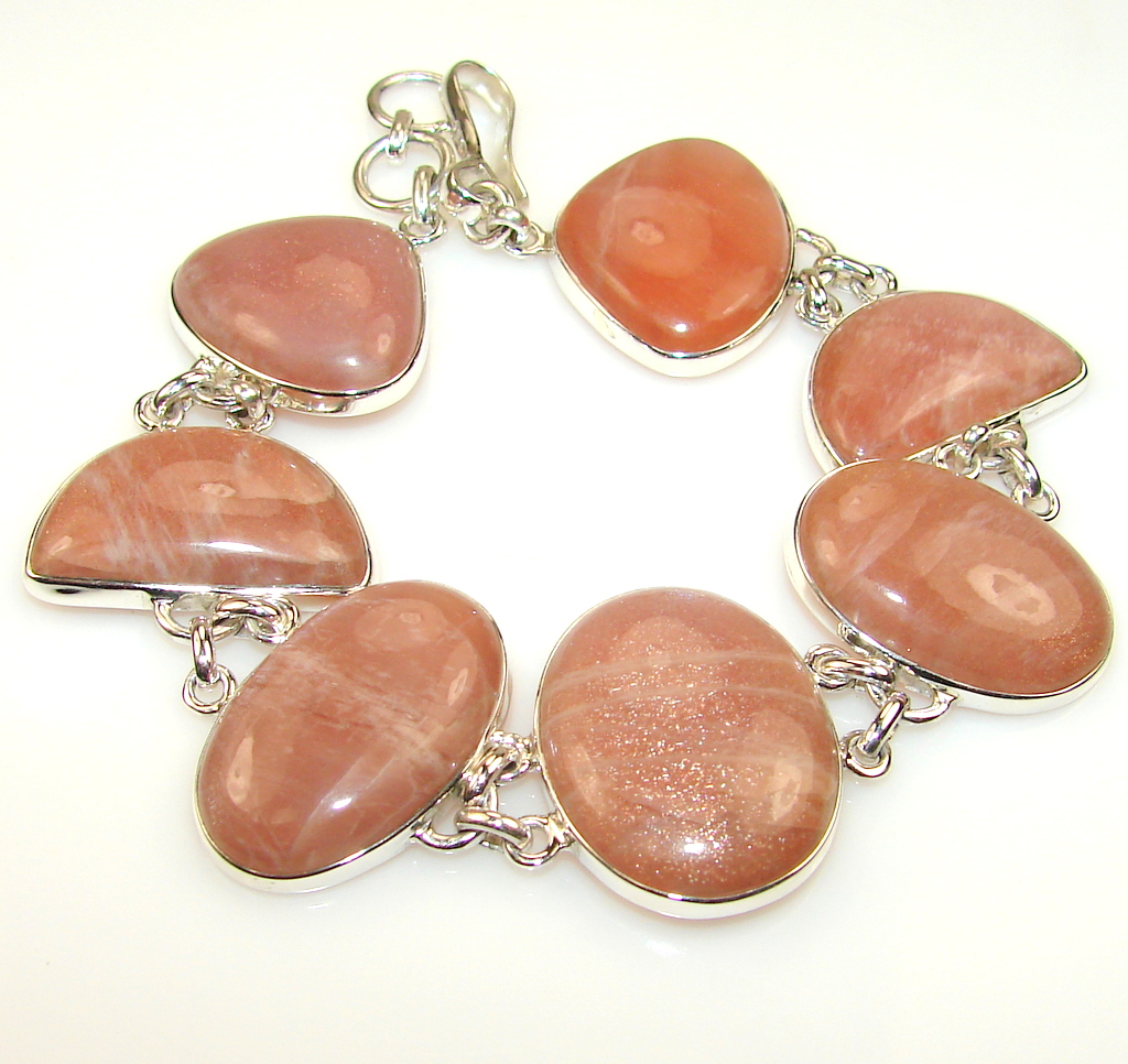Awesome Color Of Golden Calcite Sterling Silver Bracelet