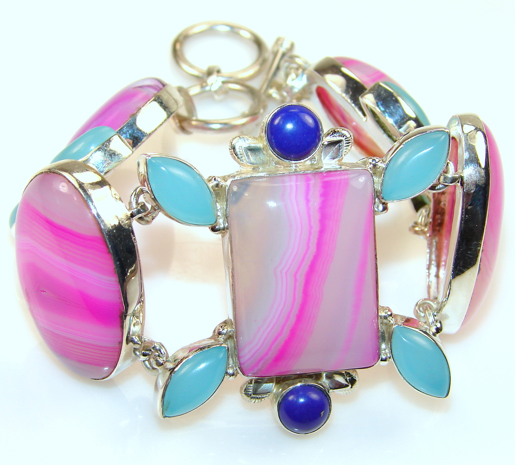 Image of Excellent Pink Botswana Agate Sterling Silver Bracelet