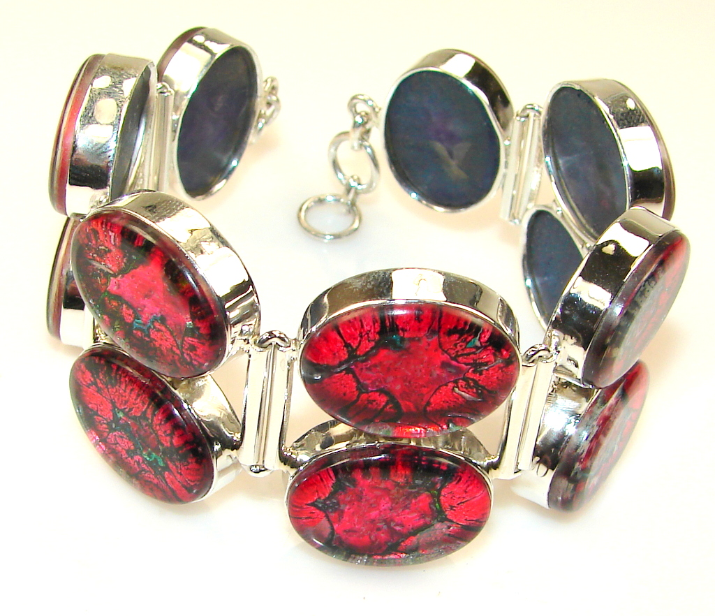 Excellent Dichroic Glass Sterling Silver Bracelet
