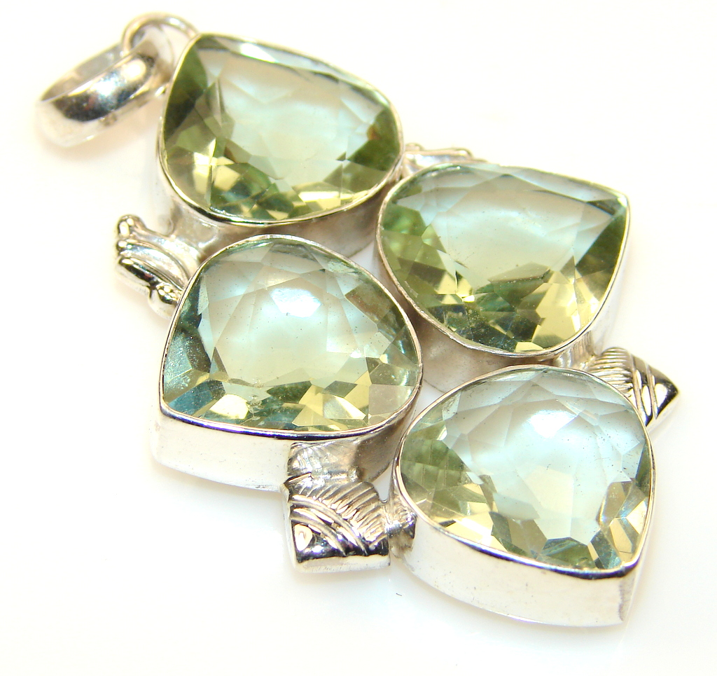 Amazing Green Amethyst Sterling Silver Pendant