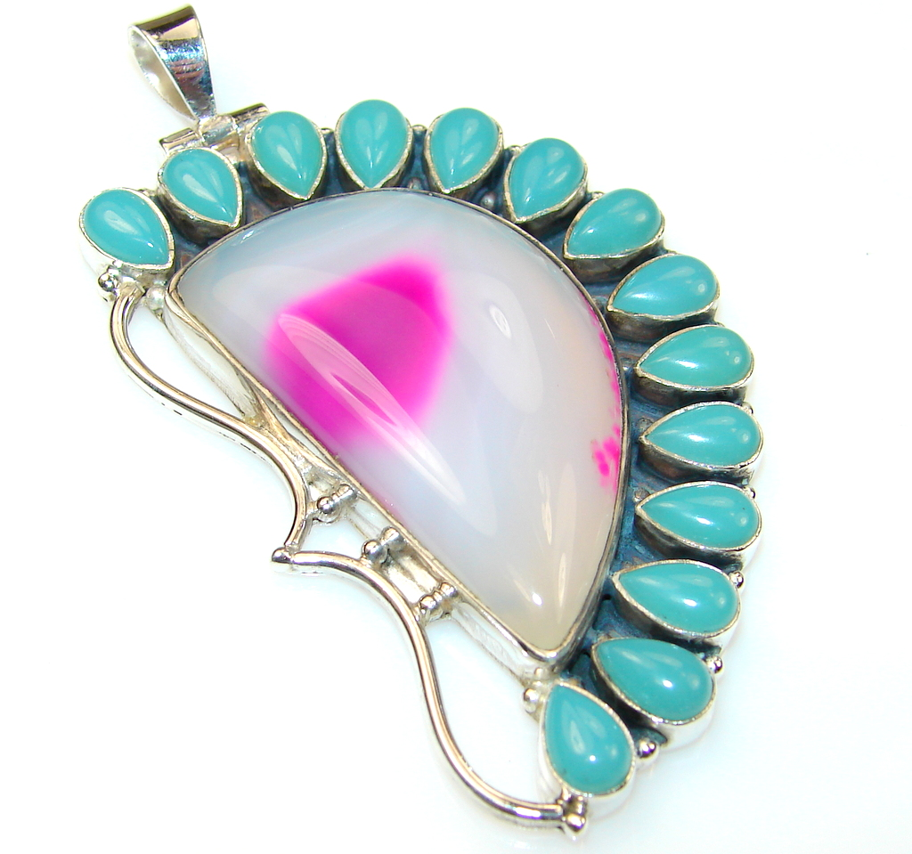 Fabulous Chalcedony Agate Sterling Silver Pendant