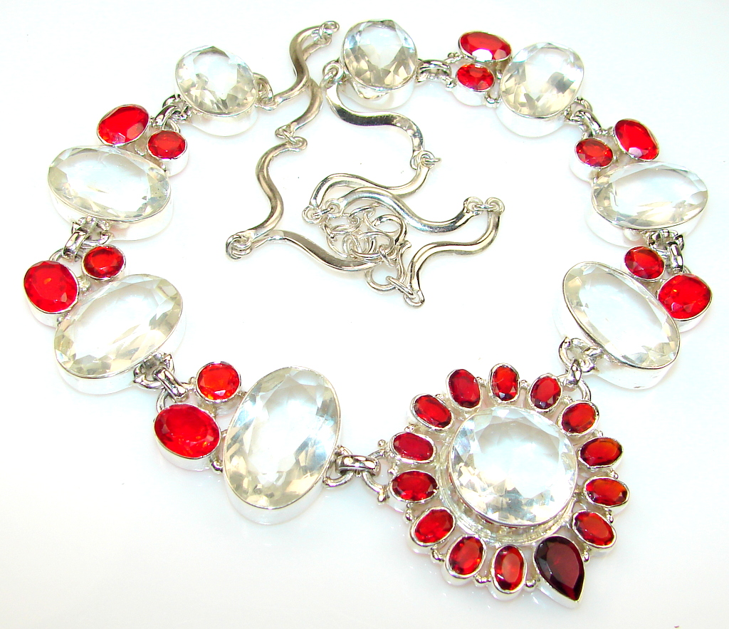Beautiful Red Quartz Sterling Silver Necklace