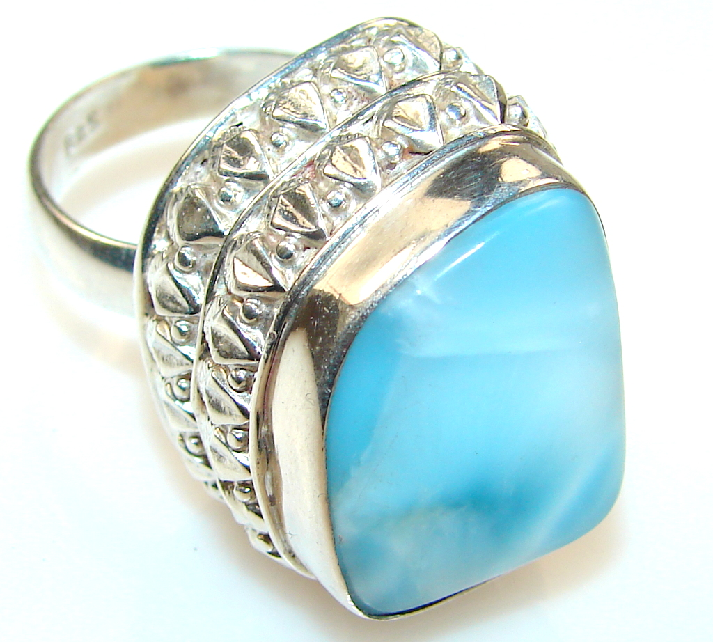 Morning Blue Larimar Sterling Silver Ring s. 7 1/2