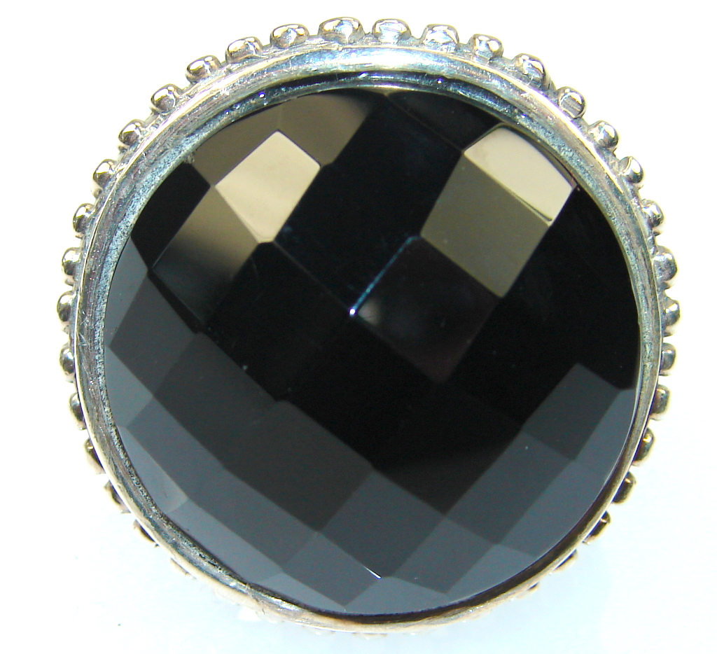 Amazing Black Onyx Sterling Silver Ring s. 8 3/4