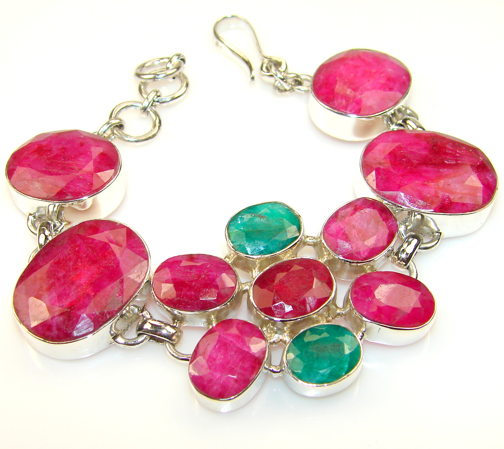 Grown Jewel Ruby Sterling Silver Bracelet