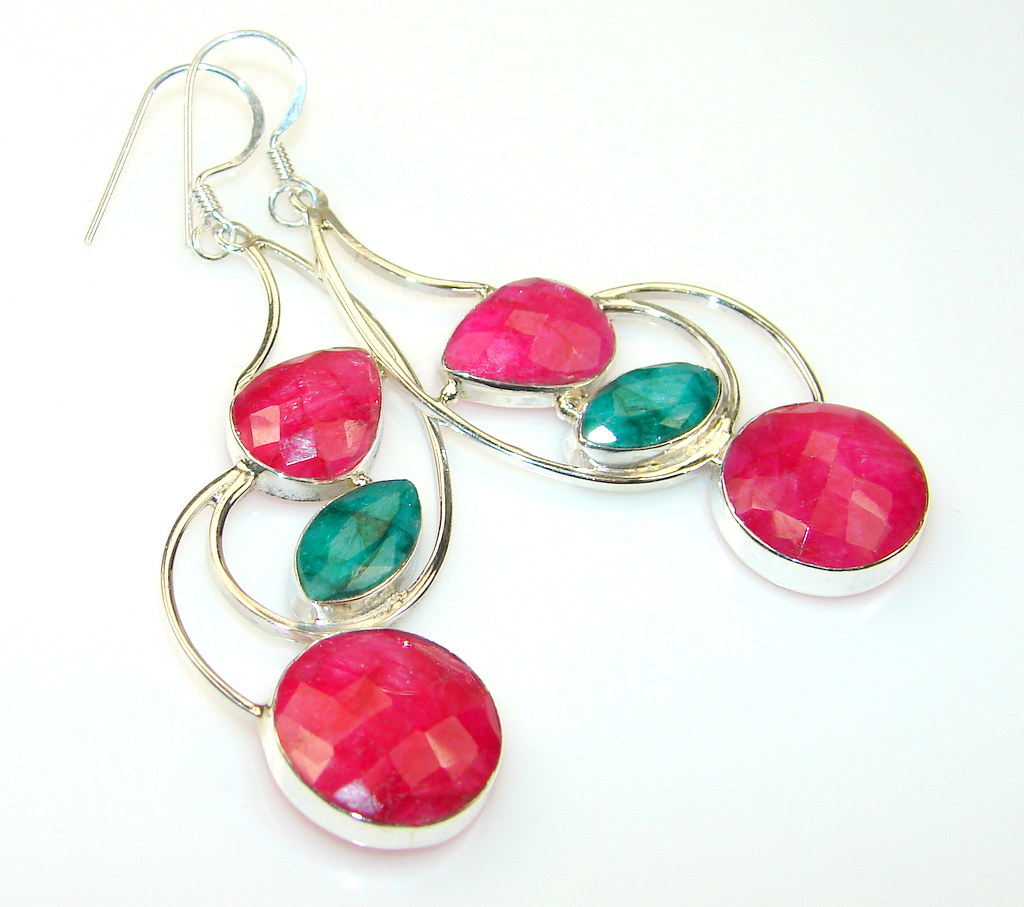 Long! Lovely Ruby Sterling Silver earrings