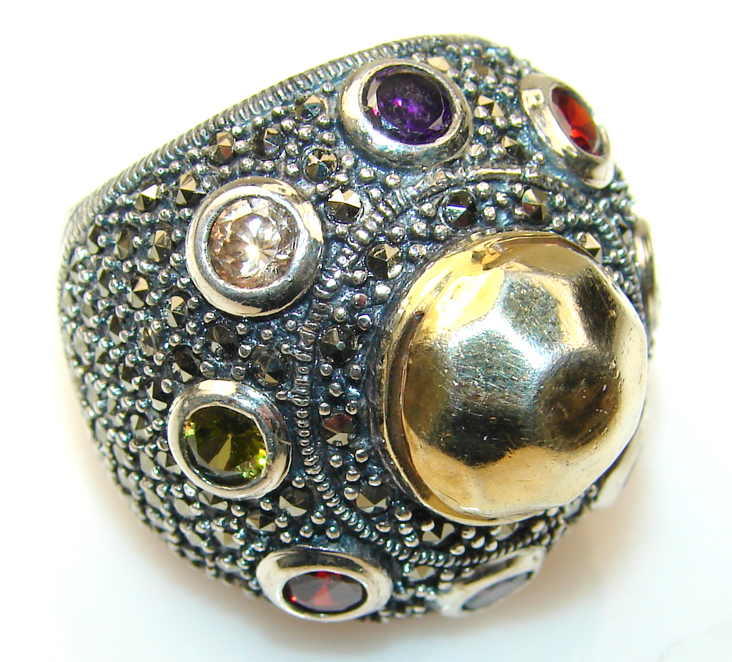 marcassite.com the marcasite jewelry place    Mysterious Two Tones Sterling Silver ring s. 7