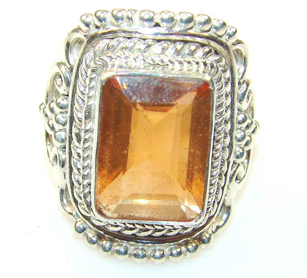 Big! Sunlight Golden Topaz  Sterling Silver Ring s. 9 3/4