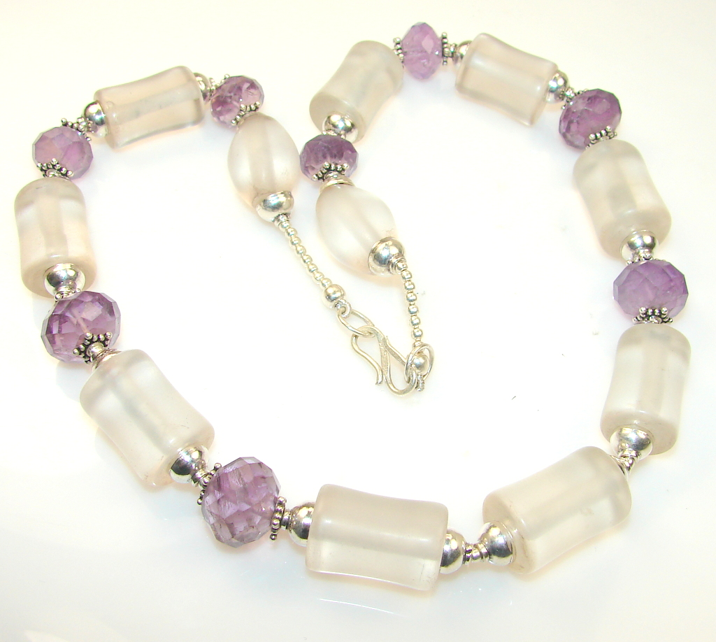 Lavender Field Rose Quartz Sterling Silver necklace