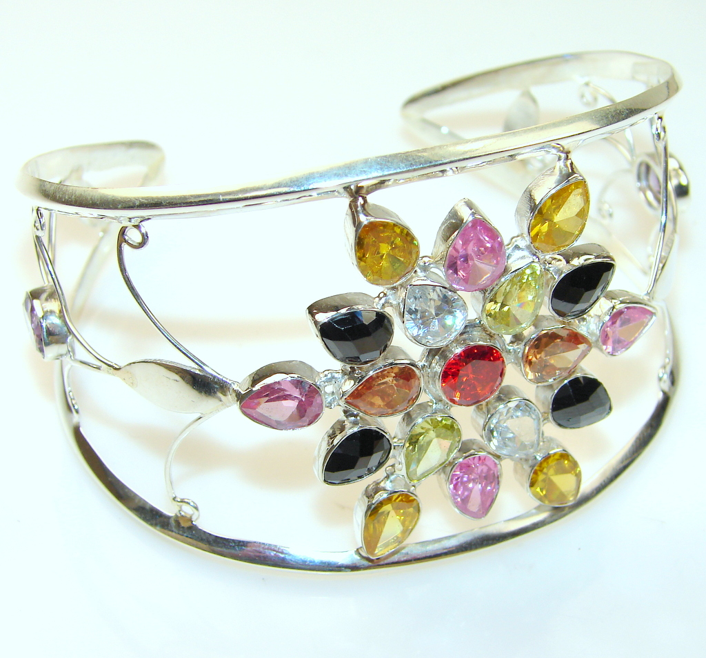 Disco Lights Multicolor Quartz Sterling Silver Bracelet / Cuff