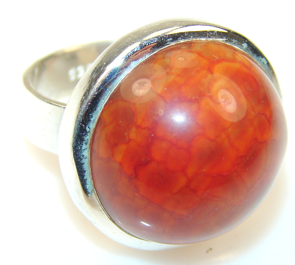 Image of Mexican Fire Agate Sterling Silver Ring s. 6