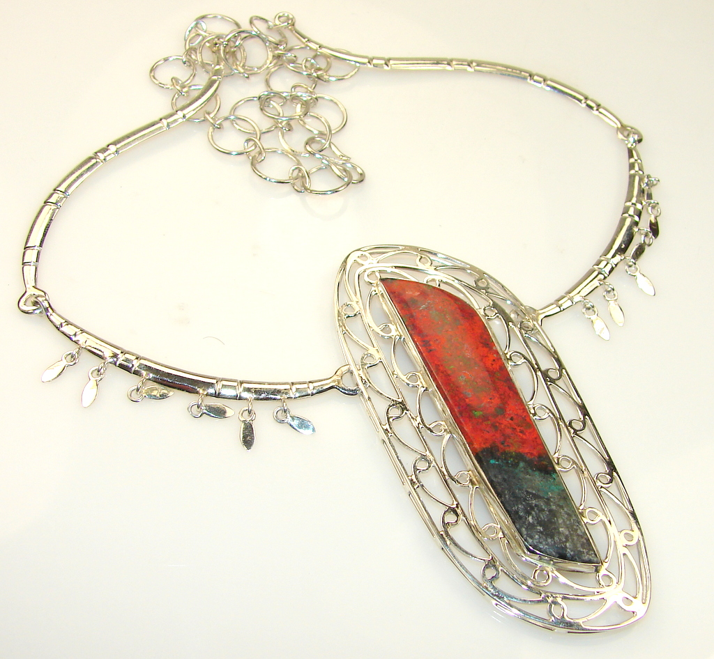 Incredible Red Sonora Jasper Sterling Silver necklace