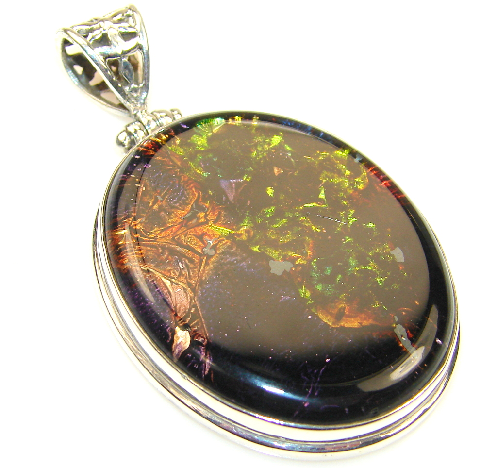Trendy Dichroic Glass Sterling Silver Pendant