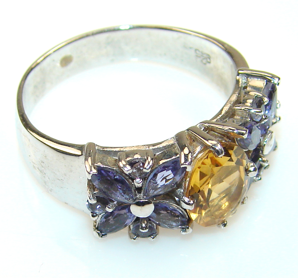 Passion Citrine Sterling Silver ring s. 10