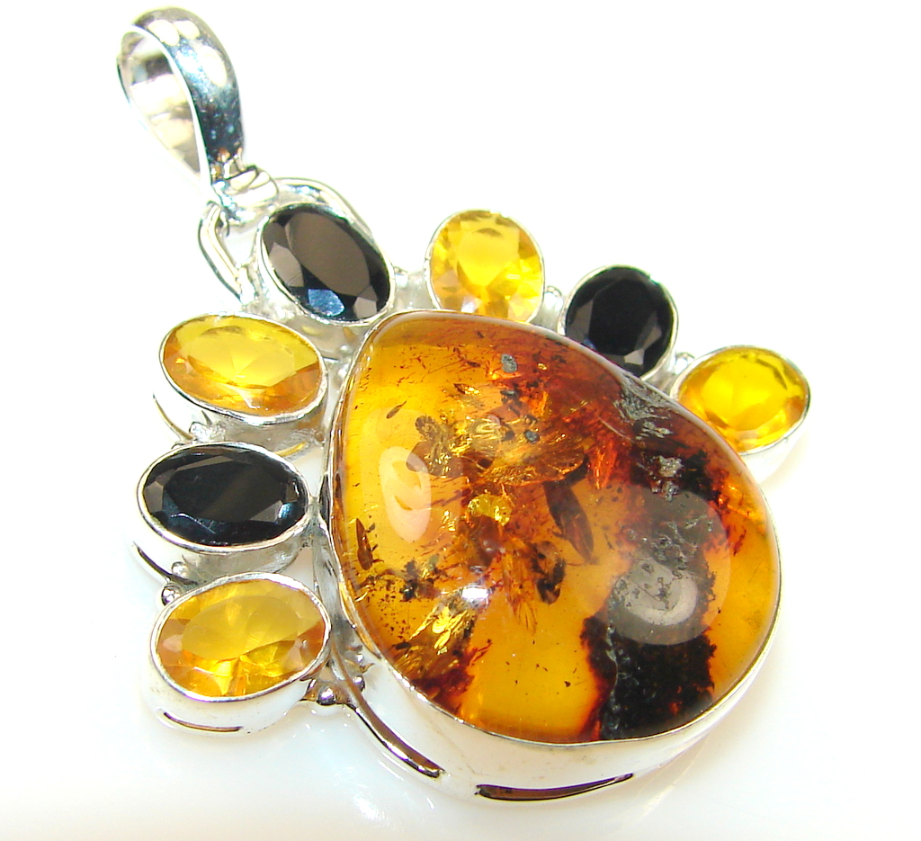 Abstract Polish Amber Sterling Silver Pendant