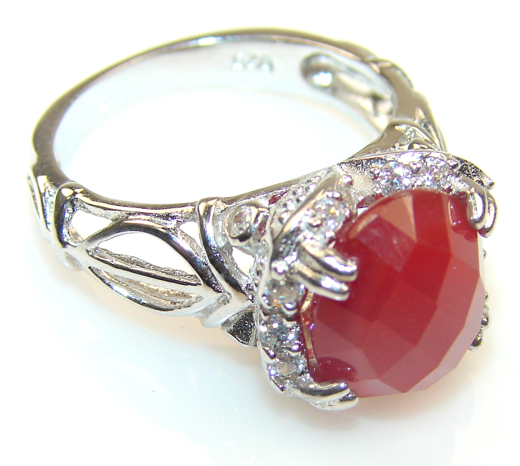 Beautiful Carnelian Sterling Silver ring s. 6 1/4