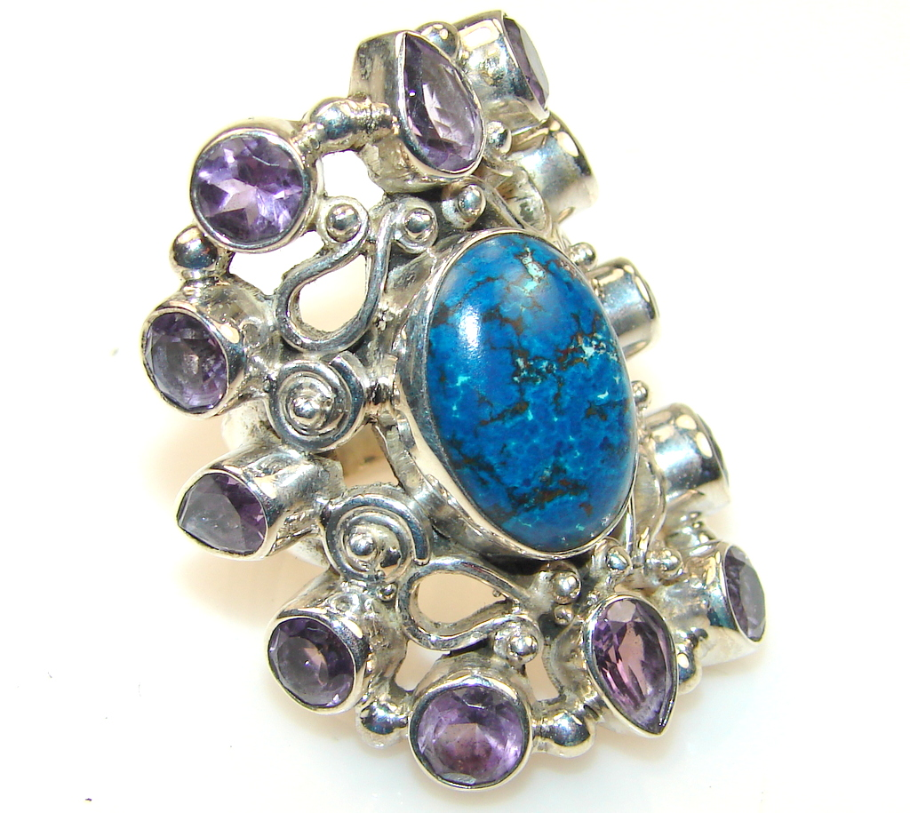 Stylish Blue Turquoise Sterling Silver Ring s. 8 1/4