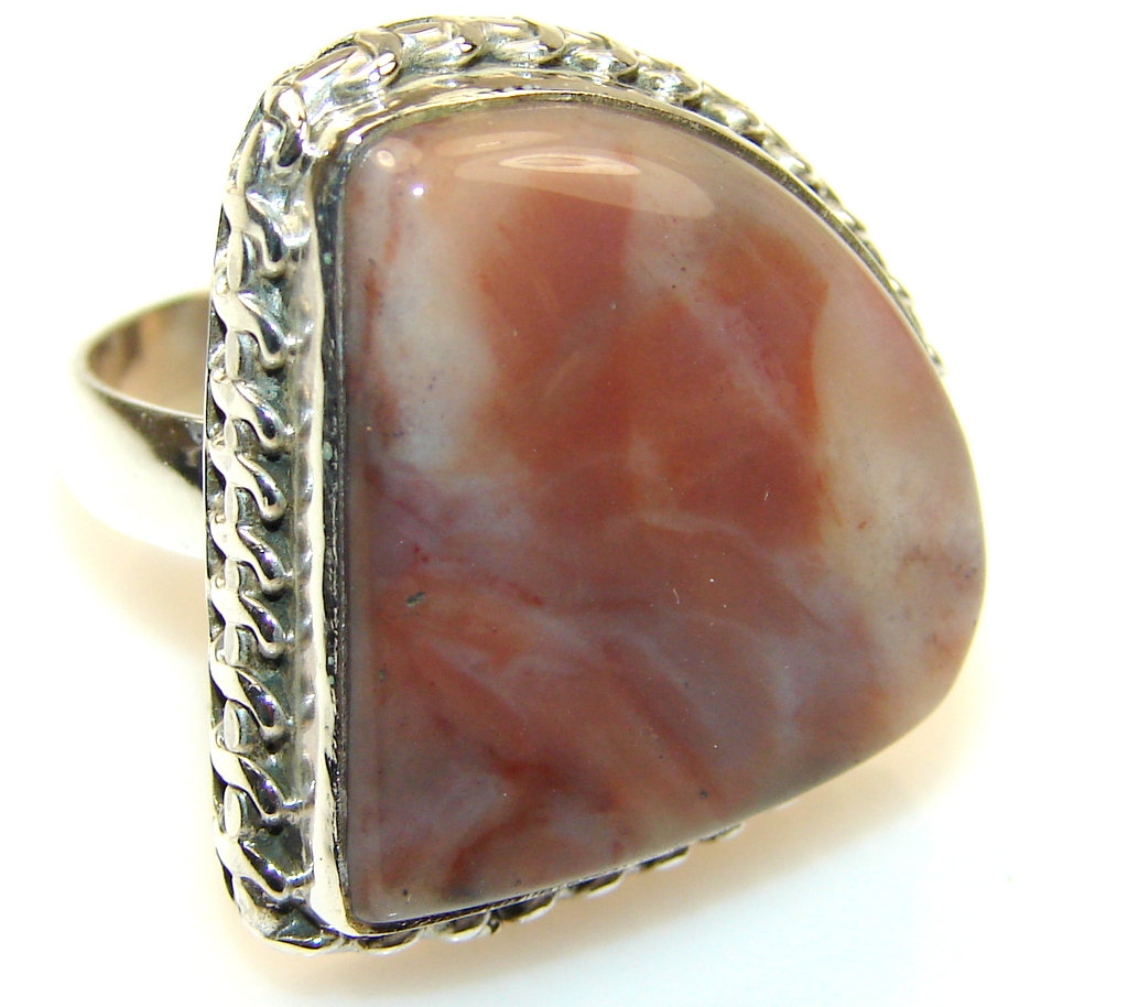 Fantsatic Montana Agate Sterling Silver ring s. 9