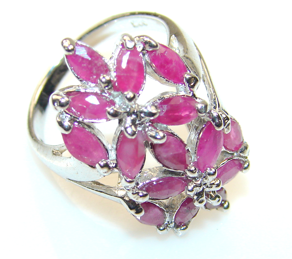 Azure Fruit Pink Ruby Sterling Silver Ring s. 5 3/4