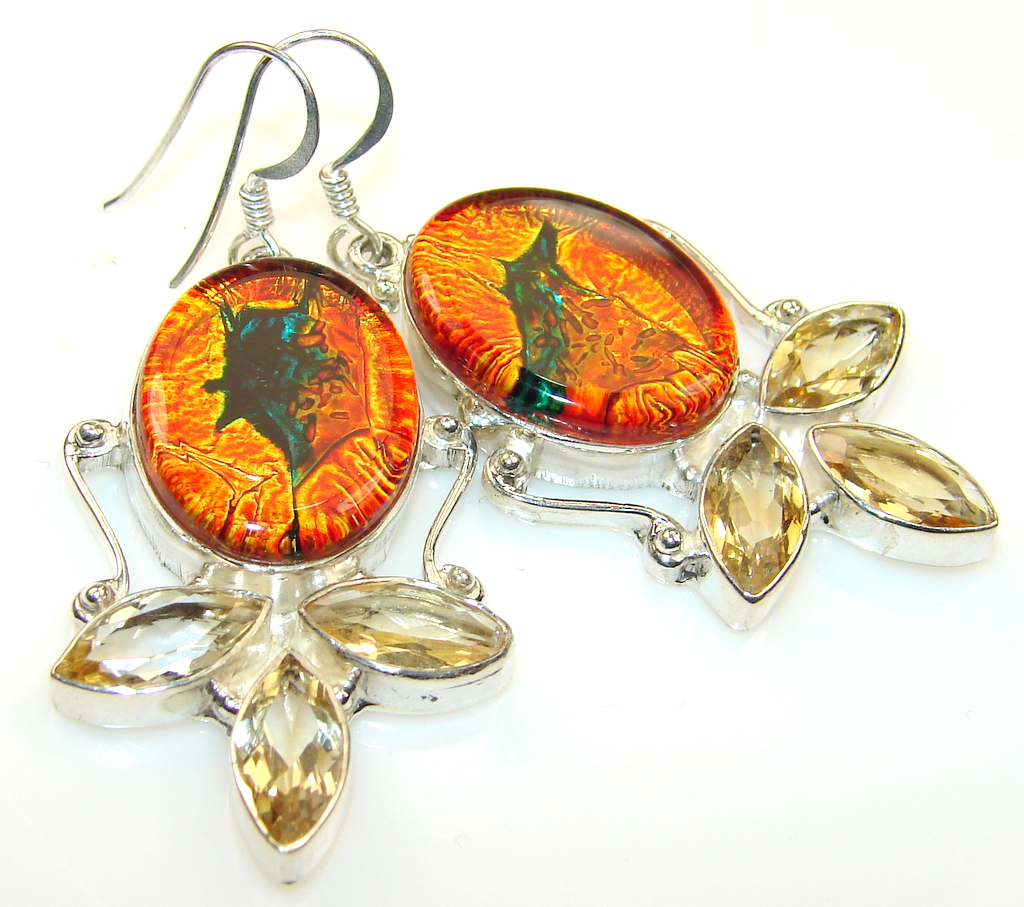 River Secret Dichroic Glass Sterling Silver earrings