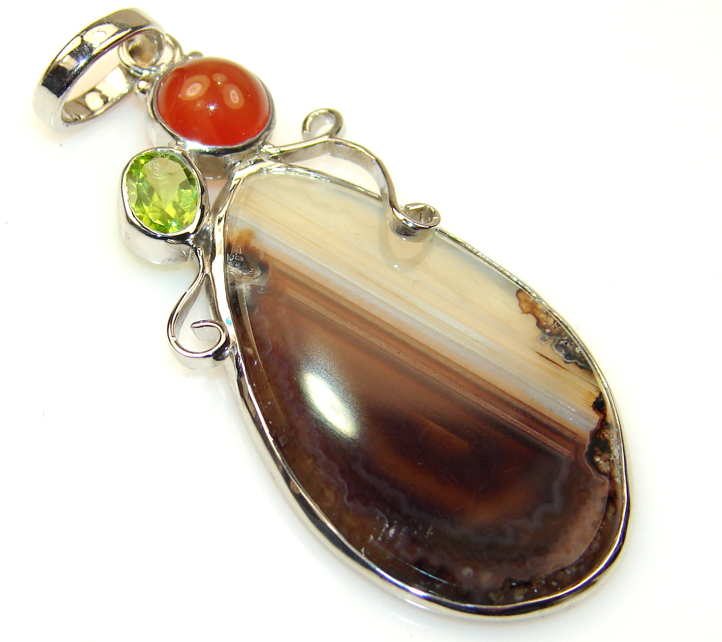 Abstract Botswana Agate Sterling Silver Pendant