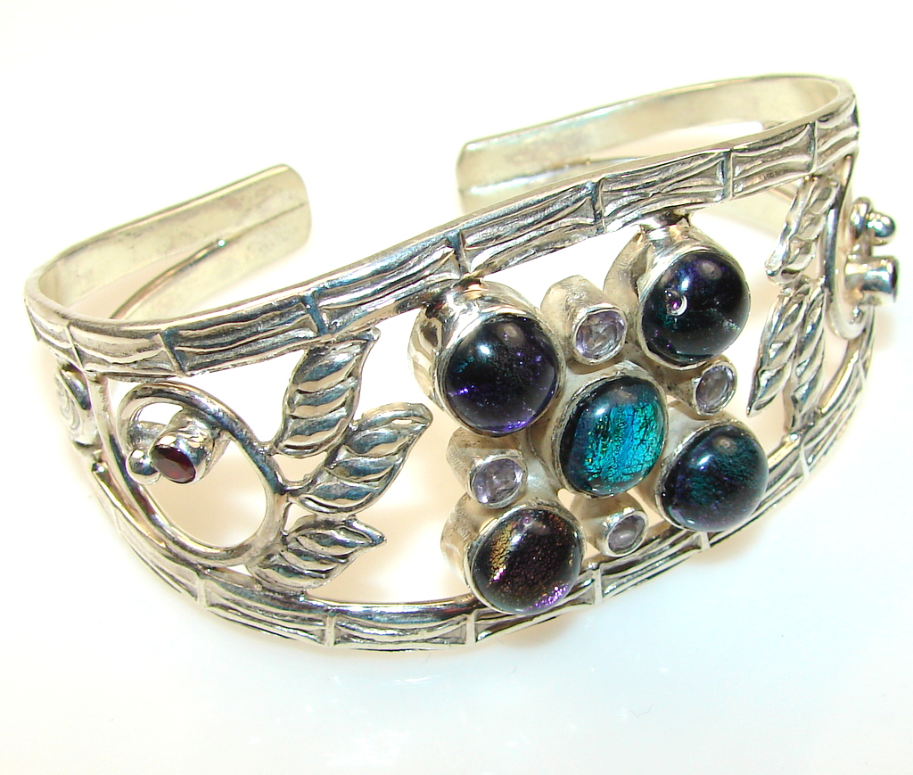 Design Dichroic Glass Sterling Silver Bracelet / Cuff