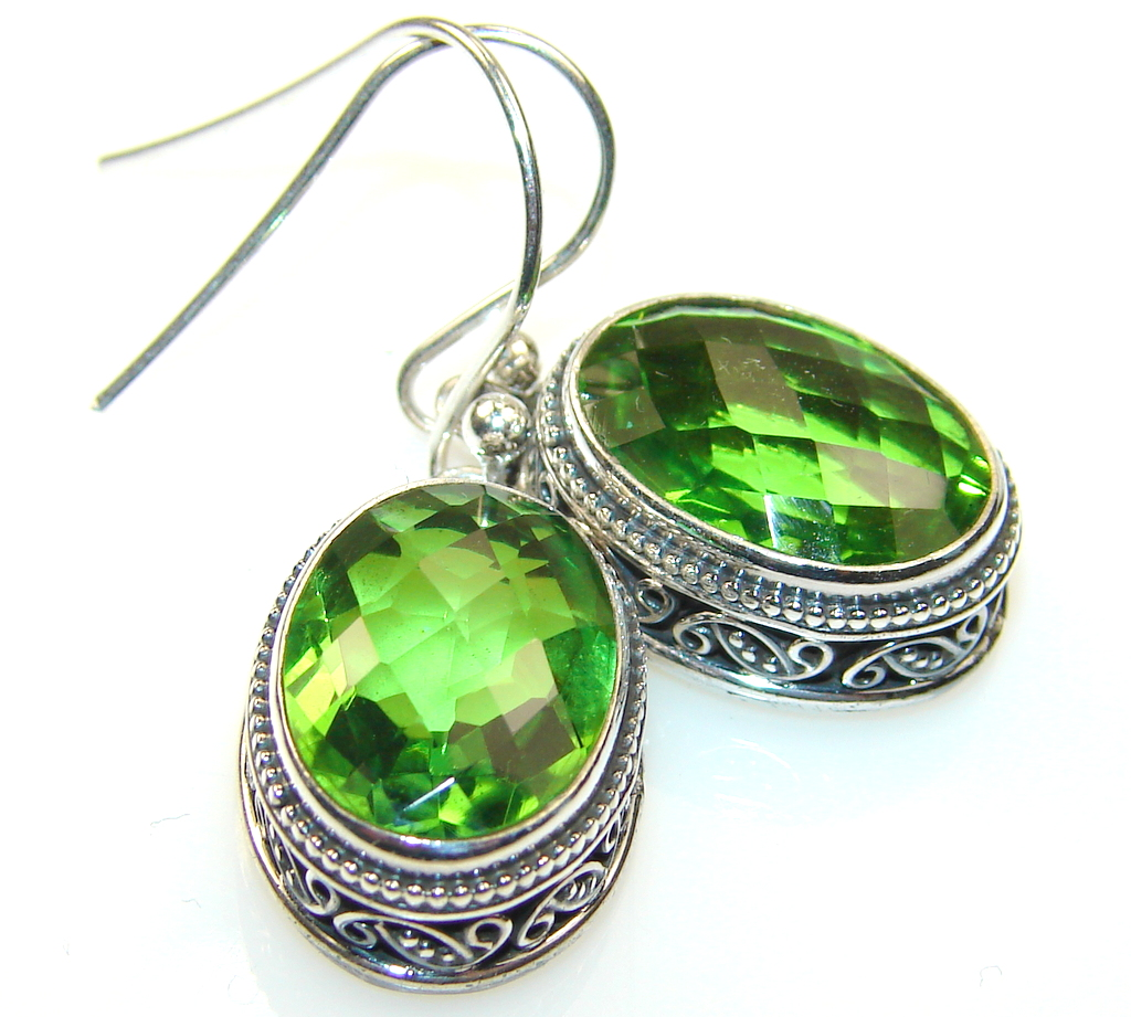 Image of Basics Green Quartz Sterling Silver earrings