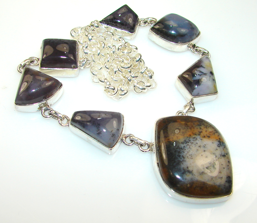 Unusal Style Of Dendritic Agate Sterling Silver necklace