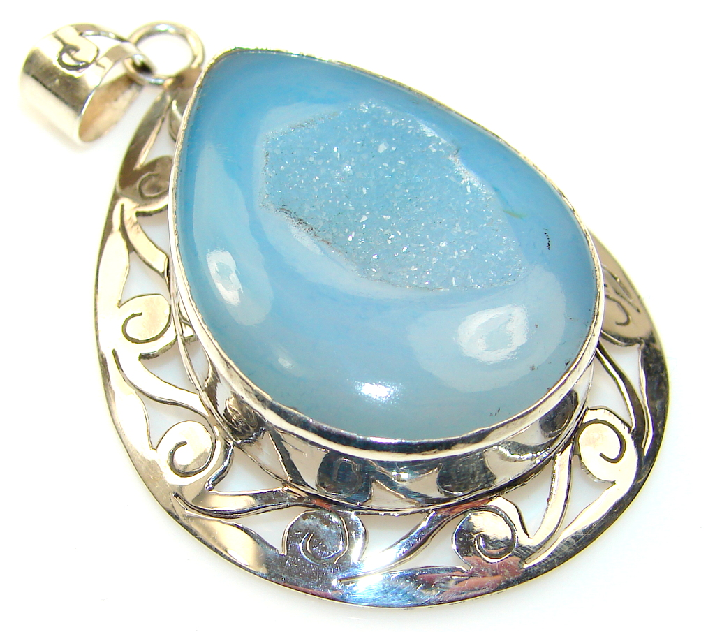 Image of Showtime Agate Druzy sterling Silver Pendant