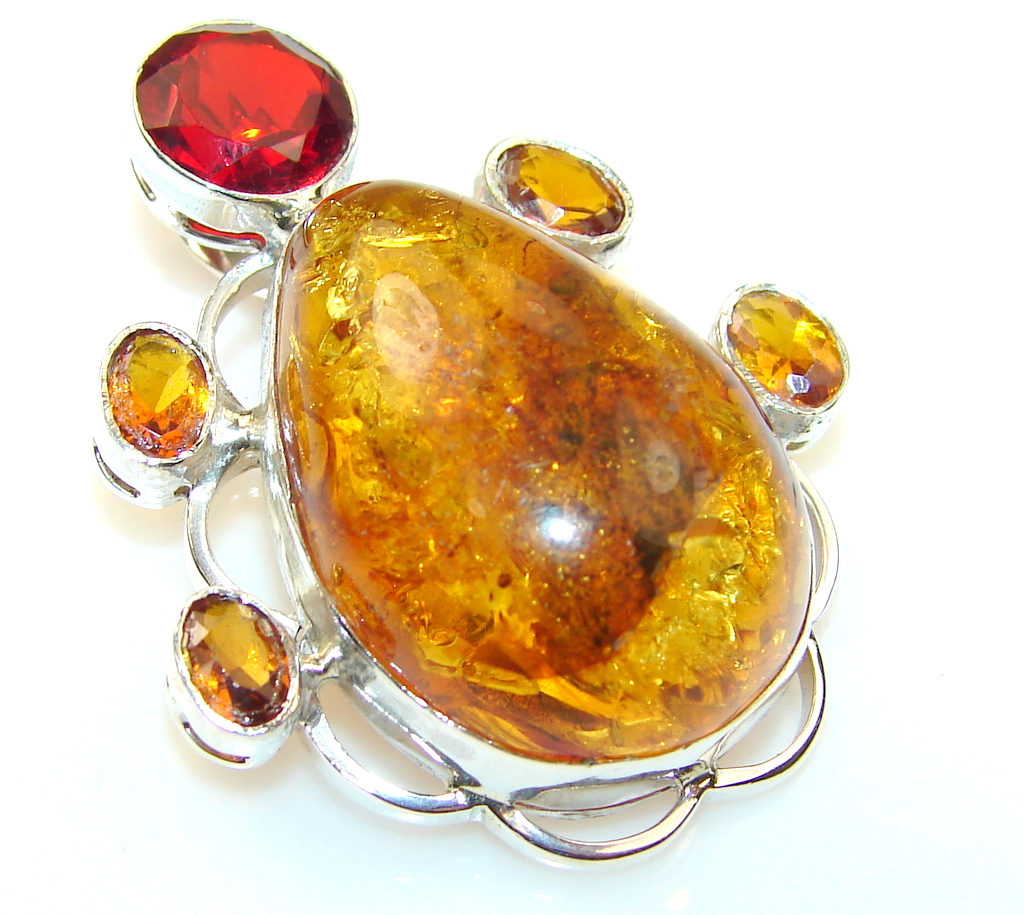 Beauty Polish Amber Sterling Silver Pendant