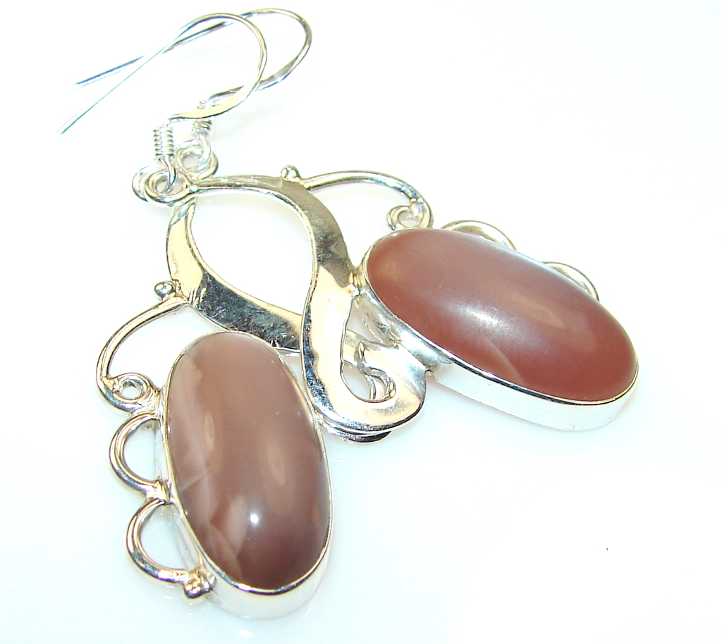 Image of Very Unique Brown Cats Eye Sterling Silver earrings