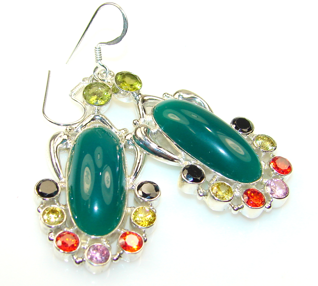 Fantastic Color Of Agate Sterling Silver earrings