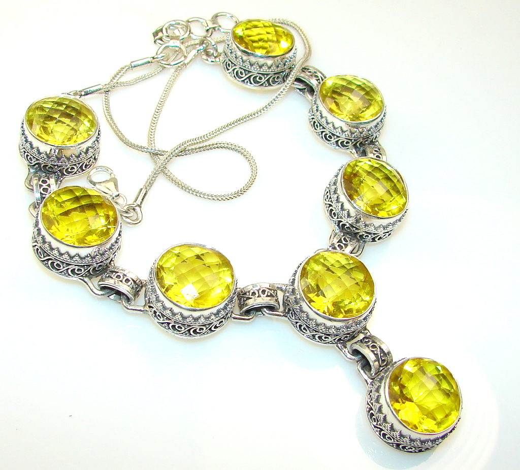 Bright Passion Citrine Quartz Sterling Silver necklace