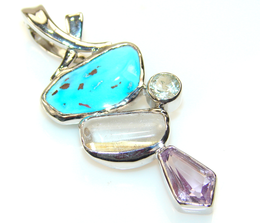 Awesome Color Of Turquoise Sterling Silver Pendant