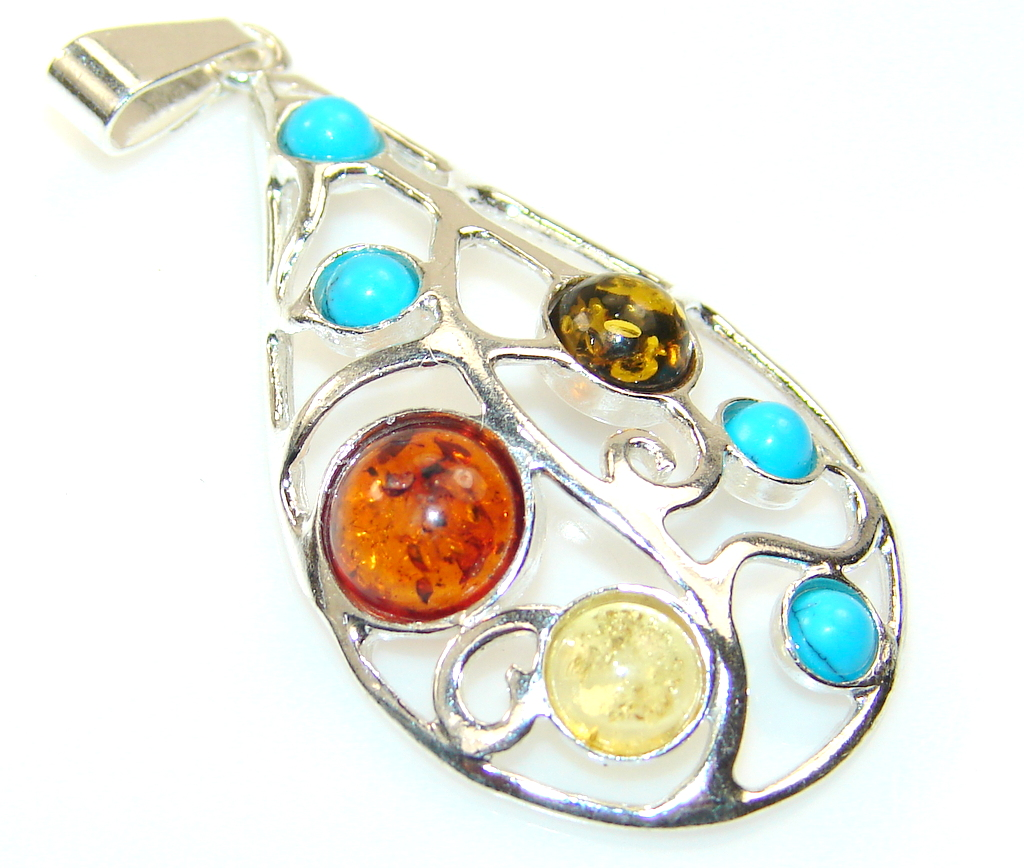 Beautiful Polsh Amber Sterling Silver Pendant