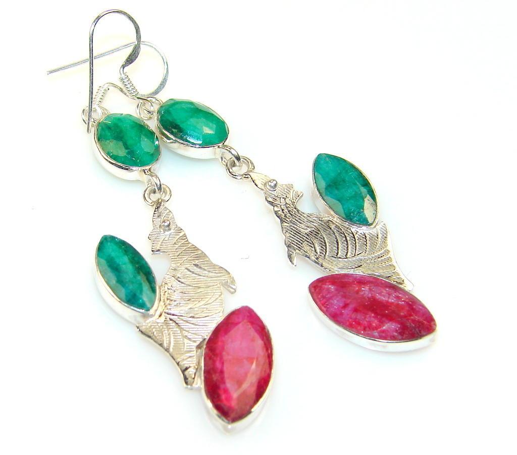 Excellent Emerald Sterling Silver earrings