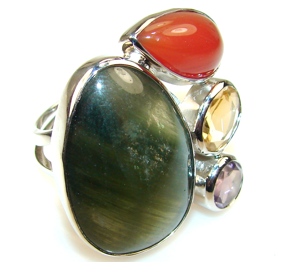 Design Color Of Moss Prehnite Sterling Silver Ring s 8 and up