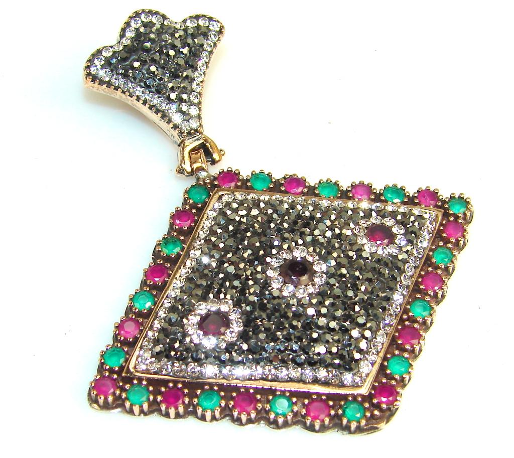 Big!! Stylish Design Of Ruby Sterling Silver Pendant