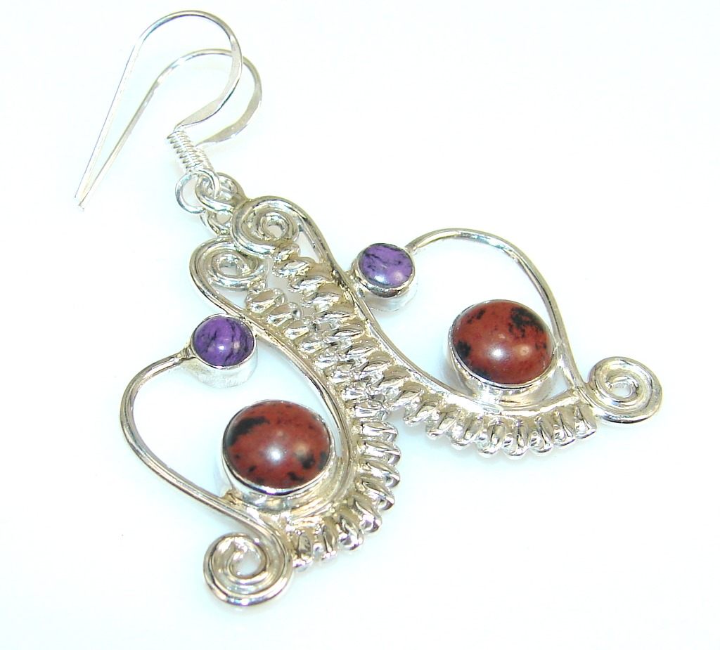 Spiral Of Life Red Obsidian Sterling Silver earrings