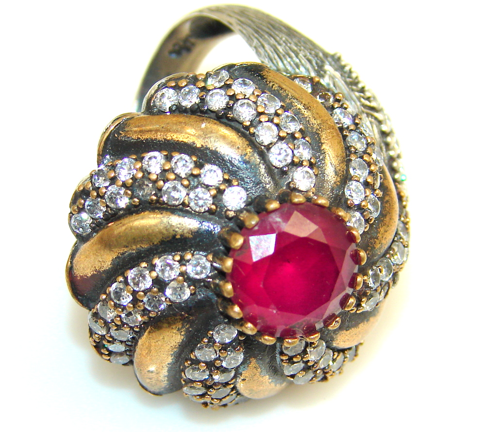 Vintage Style Crazy Energy Of Ruby Sterling Silver Ring s. 7