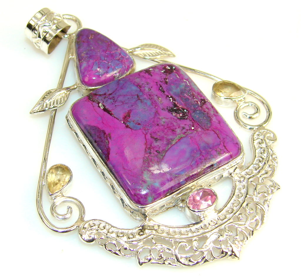 Magic Orient Purple Turquoise Sterling Silver Pendant